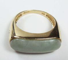 Vintage 14k Jade Ring 14k Gold Jade Saddle Ring by BelmarJewelers