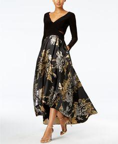 Xscape High-Low Brocade Gown | macys.com