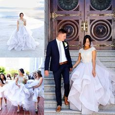 Modest 2016 New Scoop Neck Wedding Dresses Exquisite Beaded Crystal Cape Sleeve Tiered Skirts Boho Bridal Gown Custom Made