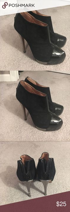 Aldo Black Booties Also black suede booties with patent leather toe. Offers welcome! Aldo Shoes Ankle Boots & Booties