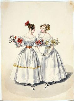Evening dress, Journal of Women and Methods (1832, France).