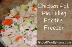 Here is a new recipe I created for Chicken Pot Pie filling for the freezer. It is dairy free too.