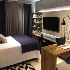 Home Office Bedroom, Tv In Bedroom, Bedroom Decor, Luxurious Bedrooms, Apartment Living, My Room, Home Fashion, Decoration, House Styles