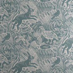 Mark Hearld Harvest Hare - wallpaper and fabric by the metre - this in Dawn Grey Natural Curtains, London Design Festival, Article Design, Roman Blinds, Panel Blinds, Fabric Wallpaper, Wallpaper Ceiling, Designer Wallpaper, Wallpaper Designs