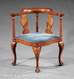An Antique Dutch Neoclassical-Style Marquetry and Mahogany Corner Chair shaped crest rail vasiform splats scrolling arms serpentine seat rail cabriole legs ball and claw feet. Corner Furniture, Wood Furniture, Victorian Furniture, Antique Furniture, Smoking Chair, Antique Armchairs, Corner Chair, How To Antique Wood, Occasional Chairs
