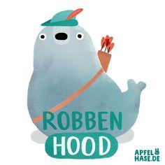 Apfelhase Illustration  Robben Hood  Robbe, seal, sea lion, Robben, Wortwitz, Wortspiel, illustration