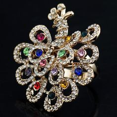 Gold Peacock Cocktail Ring