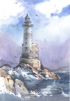 Lighthouse by Sukhotskaya - Leuchtturm - Nature Watercolor Painting Techniques, Watercolor Landscape Paintings, Easy Watercolor, Watercolor Artists, Painting Tutorials, Abstract Paintings, Painting Lessons, Abstract Oil, Oil Paintings