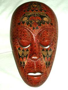 VINTAGE MASK INDONESIA ,Lombok folk art wooden carved painted mask rust, black,brown, beige,gray on Etsy, $35.00