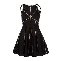 Black skater bandage dress with cut out neckline ($580) ❤ liked on Polyvore featuring dresses, zipper back dress, cutout bandage dress, bandage dress, beaded cocktail dresses and cut out skater dress
