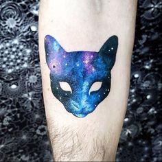 Cat galaxy tattoo
