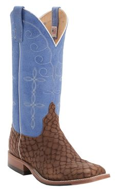 Anderson Bean® Men's Tan Brown Loch Ness Monster with Blue Top Double Welt Square Toe Western Boots