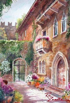 water colour of Juliet's balcony in Verona Italy