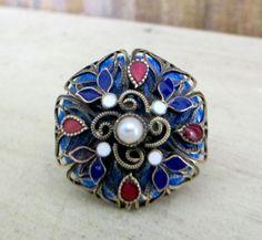 Vintage CZECH ENAMEL RING Enamel Pearl Czech by DaffodilsVintage