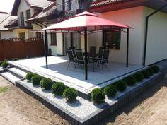 Timber Roof, Backyard Garden Landscape, Paving Stones, Deck Design, Back Gardens, Beautiful Gardens, Outdoor Living, Home And Garden, Outdoor Structures