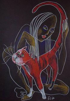 "Elisheva Nesis; Pencil 2014 Drawing ""Nocturnes. PURR-R-R"""