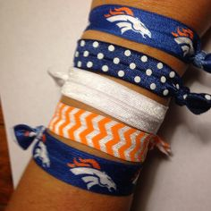 Hey, I found this really awesome Etsy listing at https://www.etsy.com/listing/202833502/set-of-5-denver-broncos-themed-hair-ties