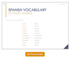 Learn Spanish vocabulary with Maria Fernandez's free audio lessons. This is a snapshot from the lesson transcript. You can get it at http://www.spanish-bookworld.com/podcast