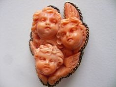Vintage Antique Victorian Carved Coral Gold Brooch Pin Three Angels Cherubs | eBay