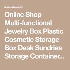 Online Shop Multi-functional Jewelry Box Plastic Cosmetic Storage Box Desk Sundries Storage Container Makeup Organizer With Small Drawer Small Drawers, Storage Drawers, Storage Containers, Storage Boxes, Make Up Organiser, Cosmetic Storage, Makeup Organization, Jewelry Box, Plastic