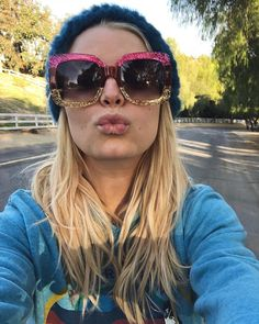 8f64239877 Gucci - GG0083S Pink Yellow - Brown sunglasses. Types Of SunglassesCelebrity  SunglassesGucci SunglassesSunniesJessica Simpson ...