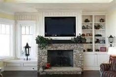 TV Over Fireplace Ideas - I guess this is what ours will look like since we are going stone, then paint above the mantel.