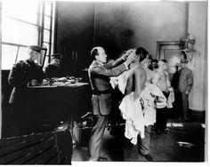 Ellis Island, doctor, check-ups, males, uniform, photo b/w, history, immigrants, vintage.