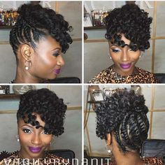 Beautiful Natural Hairstyles You Can Wear Anywhere - We Would Like To Begin Our List Of The Best Natural Hairstyles With This Glam Updo The Twisted Hair Has Been Styled High Onto The Head With Two Loose Braids At The Front It Also Has A Beautiful Hair Pelo Rasta, Pelo Afro, Girl Hairstyles, Braided Hairstyles, Natural Updo Hairstyles, Beautiful Hairstyles, Flat Twist Hairstyles, American Hairstyles, Hairstyles 2018