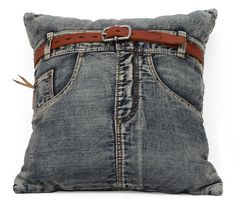 The Jean cushion is an eye catcher. Sewn from recycled denim with a jaunty belt to tie the look together. If you ever wanted your favorite jeans to reincarnate as a cushion, rejoice. - Materials: Fibe