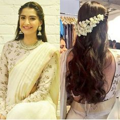Loved Sonam Kapoor's latest look- especially the hair! Twisted braid, loose curls and mogra could be a great look for your mehend or even wedding! Saree Hairstyles, Indian Wedding Hairstyles, Latest Hairstyles, Sonam Kapoor Hairstyles, Indian Hairstyles For Saree, Bollywood Hairstyles, Loose Hairstyles, Waterfall Hairstyle, Twist Braids