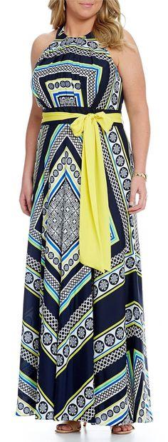 Plus Size Scarf-Print Halter Maxi Dress