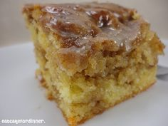 HONEYBUN CAKE ==INGREDIENTS== 1 yellow cake mix, 4 eggs, 1 c. sour cream, 3/4 c. vegetable oil, 1 c. light brown sugar, 2 t. cinnamon, 2 c. powdered sugar, 1-2 T. milk, 1-2 t. vanilla====