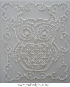 Eva Owl Whitework Needlework Embroidery by DesignsJMD on Etsy