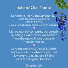 """Behind Our Name """"L2KL"""" . London to (2) Kuala Lumpur (KL) ...also from Paris, Barcelona, Madrid, & Berlin. ...also to Indonesia, Brunei, & even Canada. ♥ We are a UK registered company, personally selecting luxury branded fashion from Europe's finest designer fashion stores. ♥ Serving celebrity, Datuk & Datin, civil servants,  professionals, men & women, & all lovers of fine quality designer fashion."""