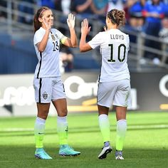 Happy 100th cap Alex! Carli Lloyd celebrates her first goal assisted by the special one today! Alex and Carli five!
