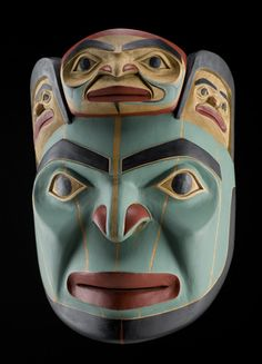 Man Who Married the Female Bear Mask by Norman Jackson, Tongass, Tlingit artist Native American Masks, Native American Artwork, Bear Mask, Ceramic Mask, Haida Art, Tlingit, Canadian Art, Masks Art, Coastal Art