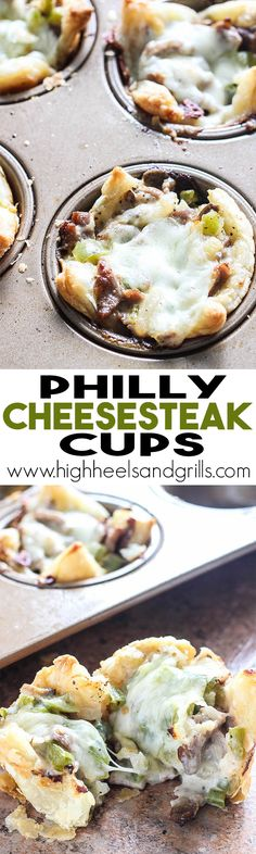 Philly Cheesesteak Cups – An easy dinner recipe that tastes so good!highhee… Philly Cheesesteak Cups – An easy dinner Yummy Recipes, Wonton Recipes, Easy Dinner Recipes, Appetizer Recipes, Beef Recipes, Cooking Recipes, Yummy Food, Party Appetizers, Muffin Pan Recipes