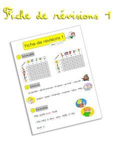 Fiche de révisions à la fin de la période 1 avec la méthode de lecture Bulle (CP) ~ Elau Kids Learning, Journal, Math, School, Phrases, Robin, Biscuits, Alphabet, Twins