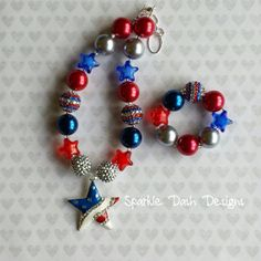 """Chunky Beaded Necklace & Bracelet Set """"My Patriotic Star"""" by Sparkle Dash Designs on Facebook, Etsy, & Instagram.  Red, White, and Blue, 4th of July, 4th of July necklace, 4th of July outfit, Fourth of July."""