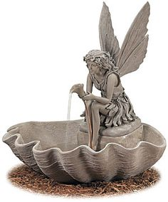 Melina Stone Color Fairy Fountain - Ships Separately -from efairies.com/store Fairy Fountain, Indoor Fountain, Garden Fountains, Unique Gardens, Beautiful Gardens, Garden Storage Shed, Storage Sheds, Garden Sheds, Indoor Water Features