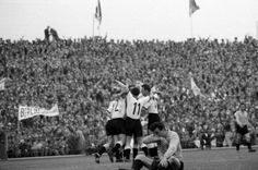 West Germany 3 Argentina 1 in 1958 in Malmo. Helmut Rahn equalises on 32 minutes and its 1-1 in Group 1 at the World Cup Finals.