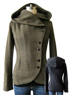 See more Cozy Side Burron Hooded Coat