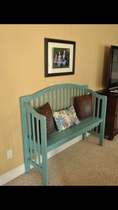 Make a bench out of old crib