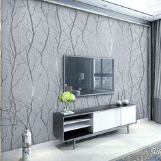 European Embossed Grey Wallpaper Birch Tree Home Decor Forest Wall Paper For Living Room(China) Grey Wallpaper Living Room, Accent Wallpaper, Accent Walls In Living Room, Accent Wall Bedroom, Modern Wallpaper, Home Wallpaper, Living Room Grey, Wallpaper Ideas, Striped Wallpaper