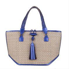 Cobalt Raffia Iman Small Totes Anya Hindmarch Handbags