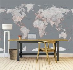 Silver World Map World Map Wallpaper, Travel Themes, My Room, Dining Bench, Entryway Tables, Nursery, Living Room, Interior Design, Groot