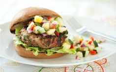 Tangy fruit relish adds a refreshing twist to the usual burger fare.