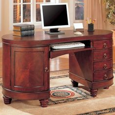 Kidney Shaped Cherry Desk