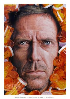 """""""Everybody"""" Lies - House MD - Hugh Laurie Color pencils Faber Castell Polychromos and Caran d'Ache Pablo  on Schoeller paper 160 gr. - 35 x 50 cm. www.facebook.com/canavarro.imagen  You can see other previous steps of the process in: https://www.facebook.com/media/set/?set=a.486857914781137.1073741893.334665666667030&type=3"""