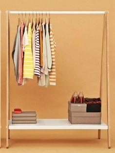 i love the idea of having a clothing rack instead of a closet.